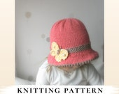 KNITTING PATTERN brim sun hat Mary with a butterfly x Summer knit hat x Free pattern gift x Brimmed hat x Girls hat pattern
