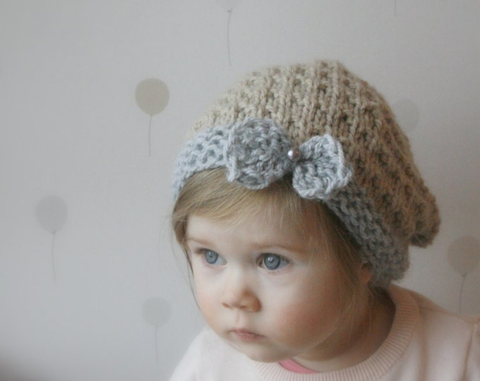 KNITTING PATTERN slouchy bow hat Ida (toddler, child, adult sizes)