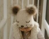 KNITTING PATTERN for kids hat Snow Dog x Kids winter hat pattern x Baby earflap hat x Pompom hat x Wolf or dog hat