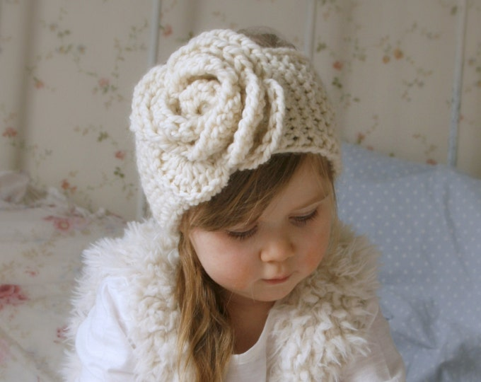 KNITTING PATTERN simple headband Nelly with crochet flower ( baby, child, woman sizes)