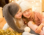 KNITTING PATTERN easy Christmas hat Noel in chunky yarn (kids and adult sizes)