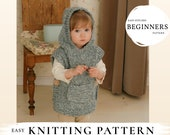 KNITTING PATTERN easy hooded poncho Phoebe x Beginner hooded poncho x Free pattern gift x Kids hooded vest pattern x Chunky knit poncho