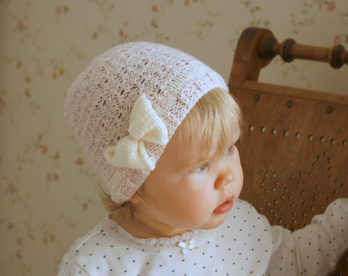 KNITTING PATTERN long stitch bow hat Nanna (baby, toddler, child, adult sizes)