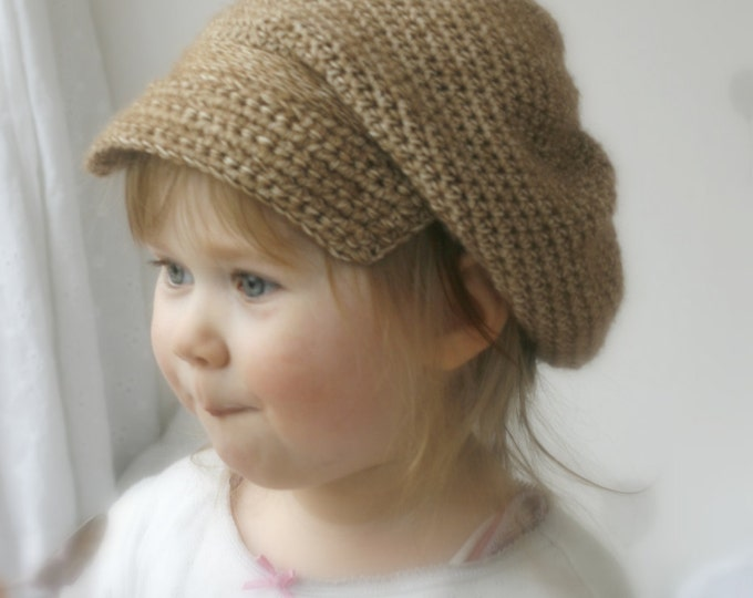CROCHET PATTERN newsboy cap hat Gavroche (toddler/ child/ woman sizes)