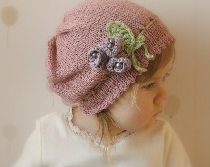 KNITTING PATTERN slouchy flower hat Hannah with crochet flowers and beads (baby, toddler, child, adult sizes)