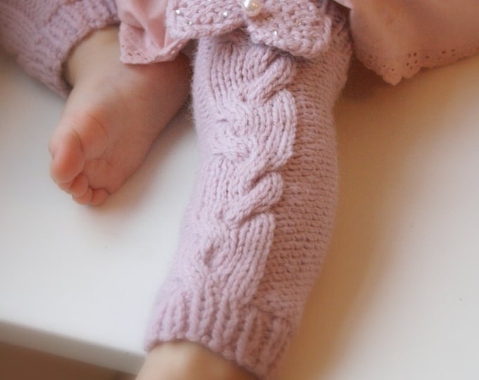 KNITTING  PATTERN leg warmers with a cable and bow Lisandra (baby/toddler/child sizes)