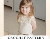 CROCHET PATTERN sleeveless summer top Heili with a fringe x Beach tank x Crochet girls tank x Beach crochet top