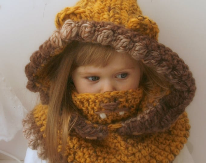 CROCHET PATTERN Lion hooded cowl Ian (baby/toddler/child/adult sizes)