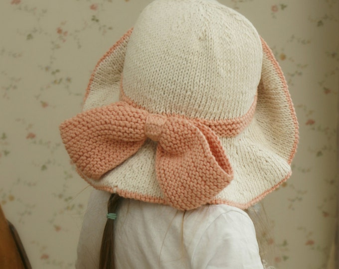 KNITTING PATTERN sun brim hat Solei with a bow (baby, toddler, child, woman sizes)