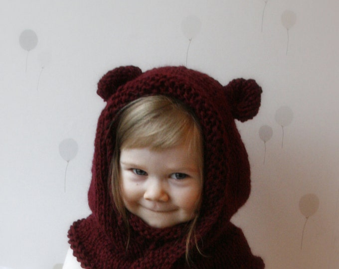 KNITTING PATTERN hooded cowl Rowan with round ears and inner cowl (baby, toddler, child, adult sizes)