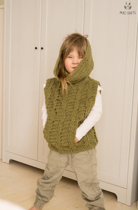Crochet Pattern Cable Poncho Cora With Pocket And Oversized Etsy