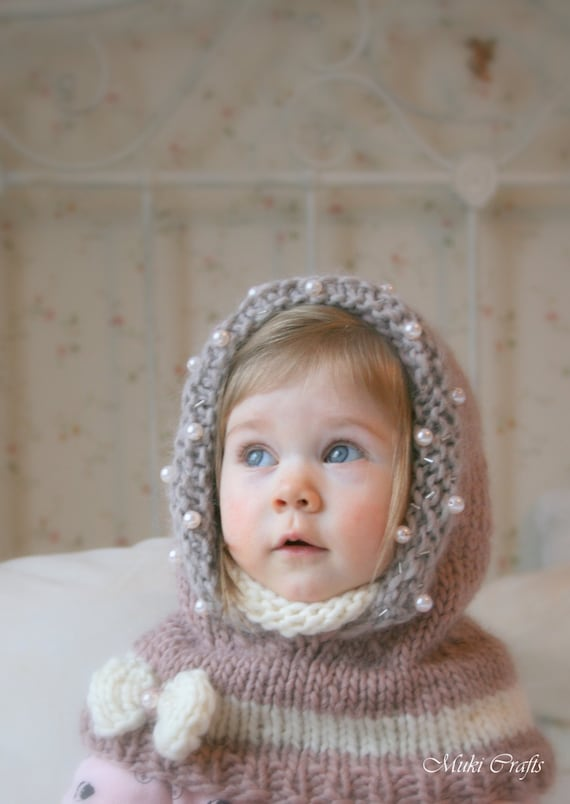 Knitting Pattern Hooded Cowl Adele With Beads And A Bow Baby Etsy