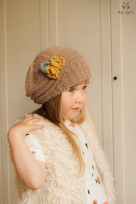 d5674f79a68 KNITTING PATTERN beanie hat Mila with crochet flowers