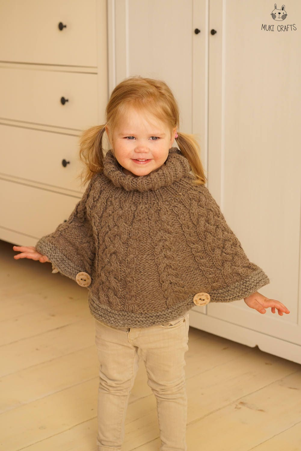 Knitting Pattern Chunky Cable Cape Poncho Verona Toddler Kids Sizes