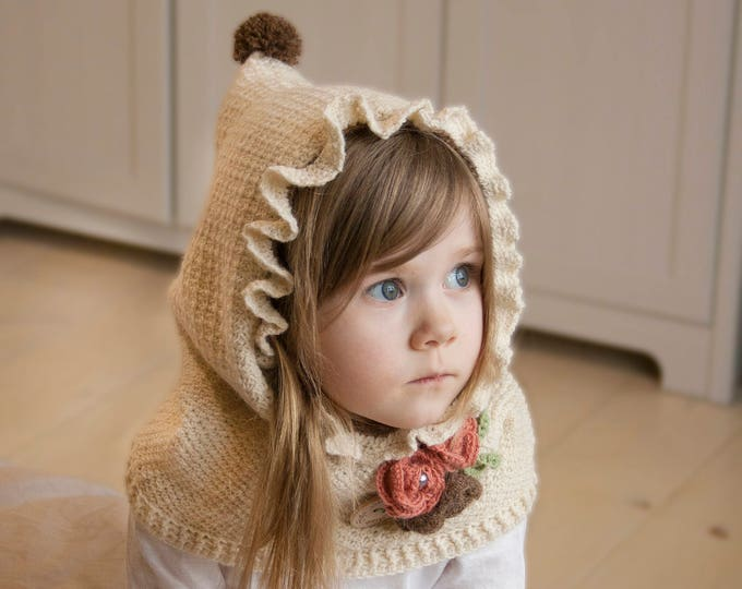 Girls crochet hooded cowl with flowers Amelia (toddler size)
