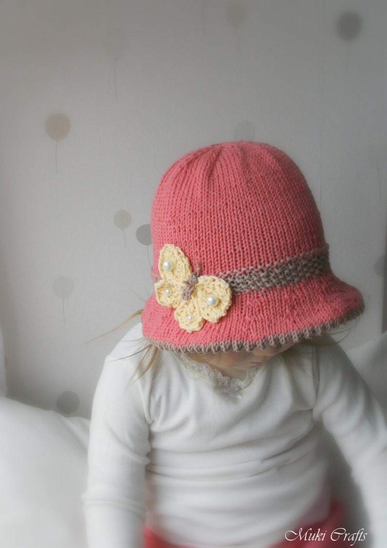 00ceb50a2ec KNITTING PATTERN brim sun hat Mary with a butterfly baby
