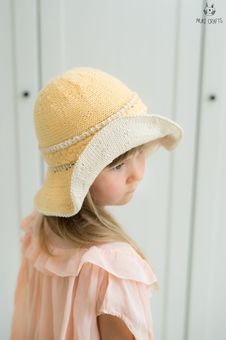 cf77f58a5ee KNITTING PATTERN brimmed cable summer hat Harriet baby