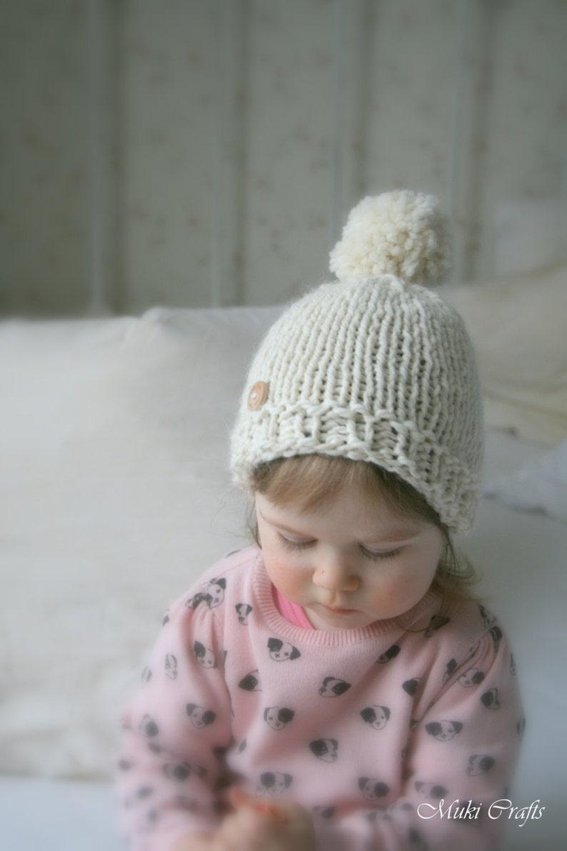 1d052f0f KNITTING PATTERN basic beanie pompom hat Harper baby | Etsy