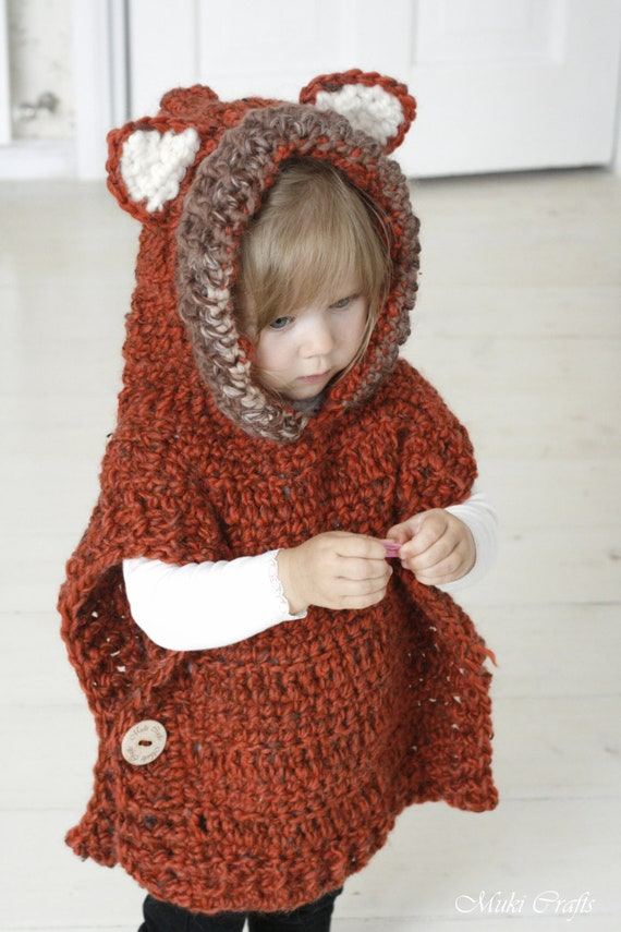 Crochet Pattern Fox Hooded Chunky Poncho Max Etsy