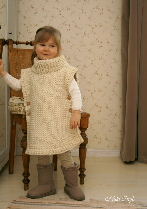 Crochet Pattern Poncho Scarlett With Turtleneck And Buttons Etsy