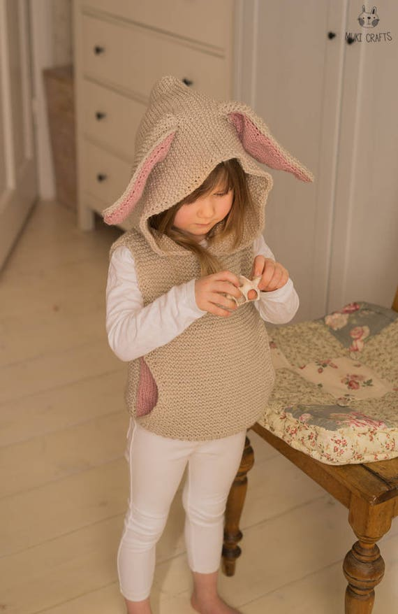 KNITTING PATTERN hooded vest with a pocket and bunny ears | Etsy