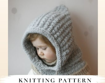 Hooded cowl Jordan PDF knitting pattern x Snood knit pattern x Inner cowl hood x Kids and Adult winter hood