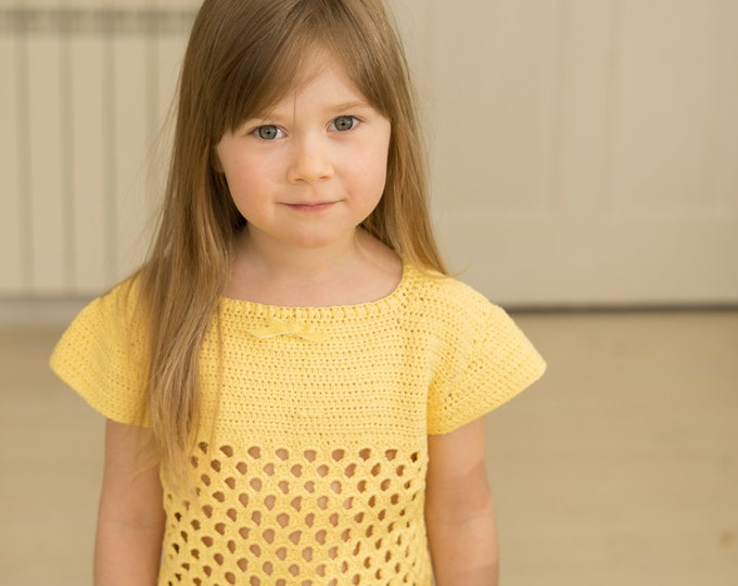CROCHET PATTERN summer top May with honeycomb pattern (toddler and kids sizes)