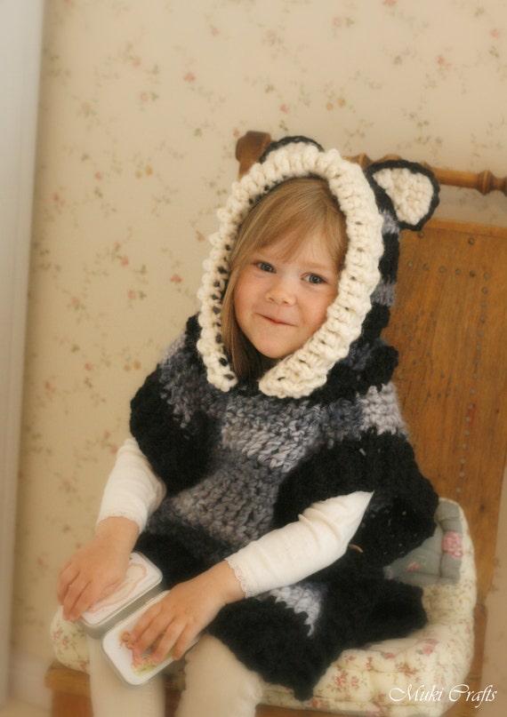Crochet Pattern Fox Wolf Hooded Chunky Poncho Max Etsy