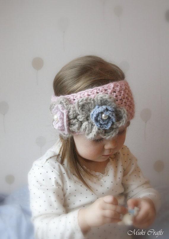 Knitting Pattern Simple Headband Kendra With Crochet Flowers Etsy