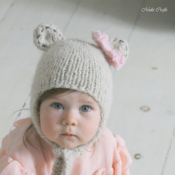 Knitting Pattern Bear Hat With Earflaps And A Bow Nalle Baby Etsy