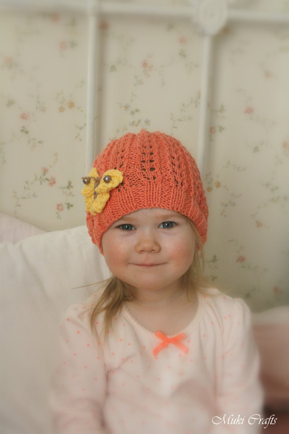 c903a5709ce KNITTING PATTERN summer lace beanie hat Ivy with knitted butterfly (baby