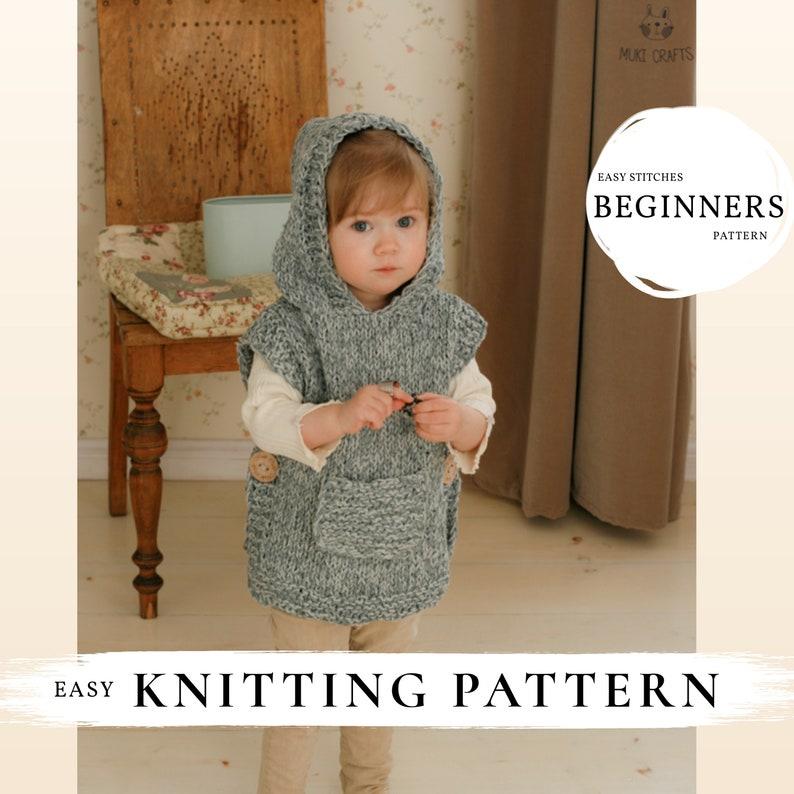 KNITTING PATTERN easy hooded poncho Phoebe x Beginner hooded image 0