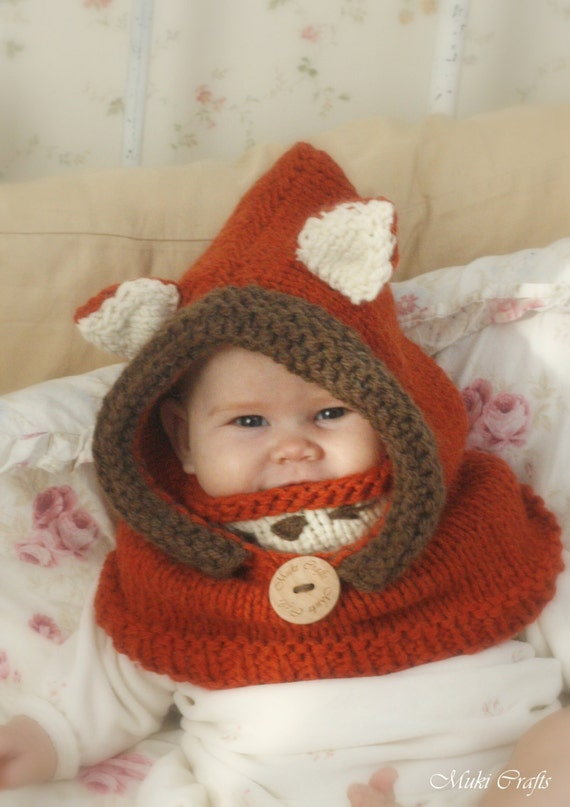 Fox Hooded Cowl Rene Knitting Pattern In Baby Toddler Child Etsy