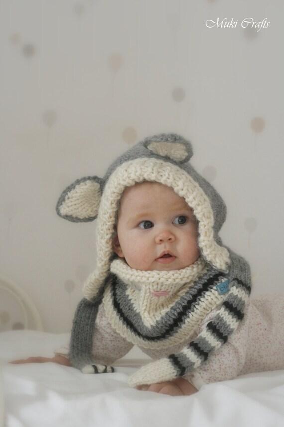 Knitting Pattern Cat Hood And Cowl Set Simba Baby Toddler Etsy