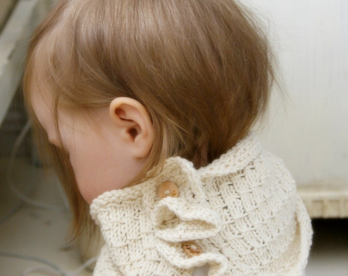 KNITTING PATTERN cowl Johanna with ruffle and buttons (toddler/child/woman sizes)