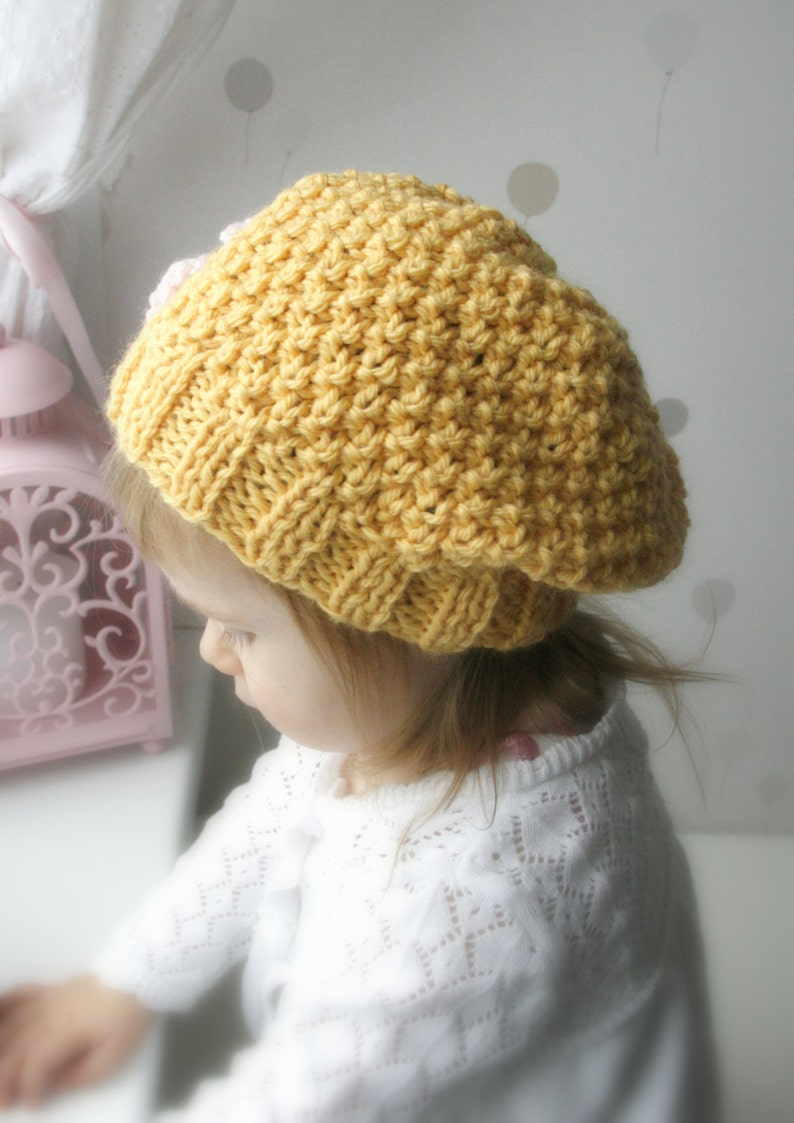23a680afc KNITTING PATTERN slouchy hat Jenny with a flower (baby, toddler, child,  woman sizes)