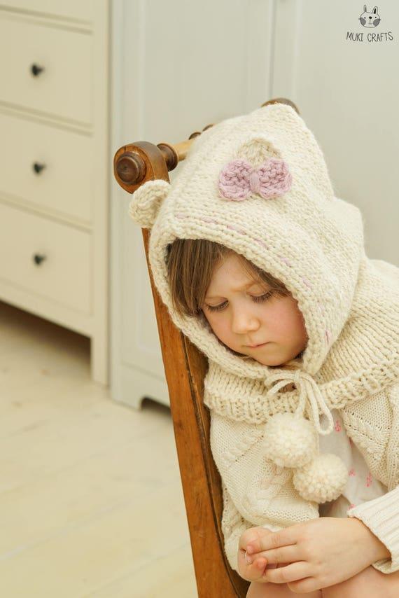 Knitting Pattern Polar Bear Hooded Cowl Popi Baby Toddler Etsy