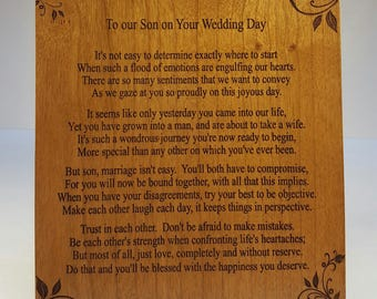 To Our Son on Your Wedding Day Plaque