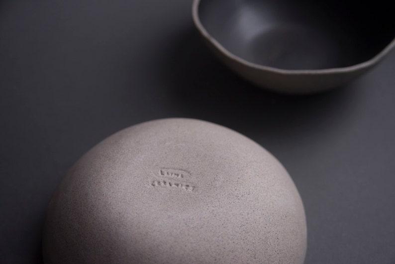 natural minimal nordic rustic monochrome stoneware soup breakfast bowl Black on grey matte handmade bowl
