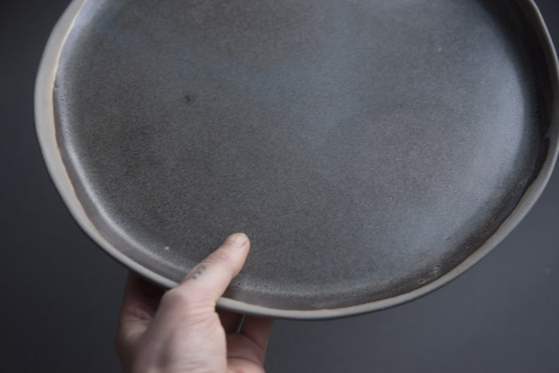 Handmade handcrafted anthracite stoneware plate GREY on GREY dinner plateserving plattercake plate grey speckled natural nordic rustic