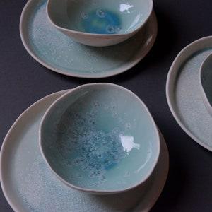 Handmade porcelain bowl turquoise light blue pastel unique crystalline handmade