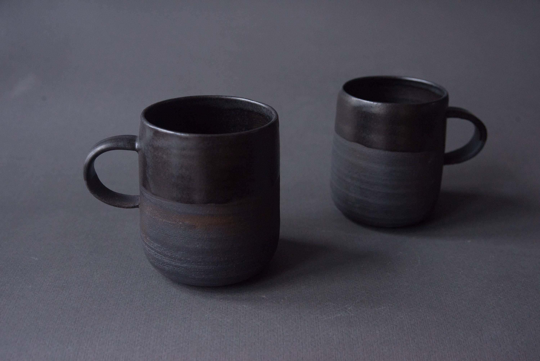 Schwarze Becher Mit Henkel-Tee Oder Kaffee Tasse Matt