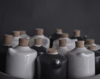 salt and pepper shakers , handmade wheel thrown porcelain, minimal nordic natural monochrome, black and white matte