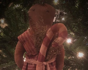 Primitive Gingerbread Christmas Farmhouse  Candy Cane