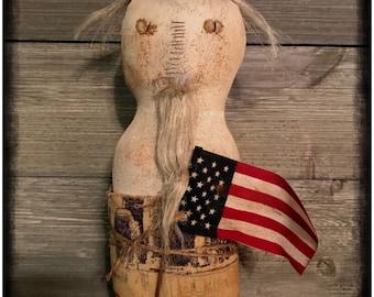 Primitive Farmhouse americana Uncle Sam shelf sitter wood base flag