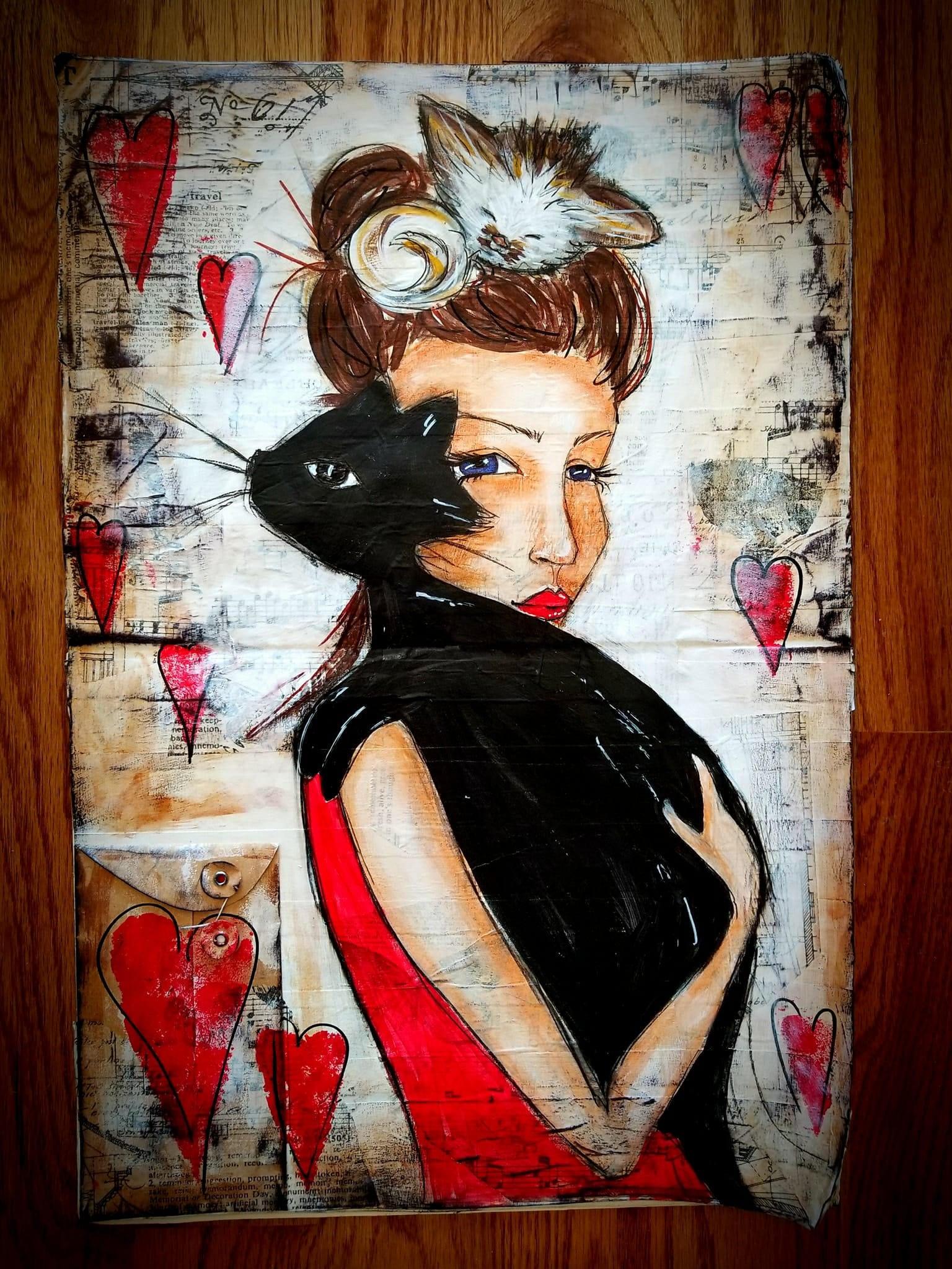 Pelzigen Freund Hommage ich liebe Katzen Kunstwerk   Etsy