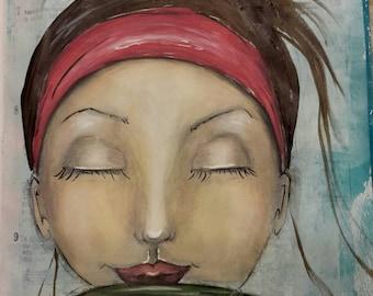 "Mixed Media Original Art Print - ""Dreary Monday"" Girl with Coffee Mug"