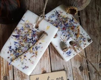 Essences in soy wax-profuamte and decorated to hang with botanical elements-wild herbs-wild herb