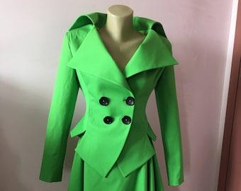 Women's Green Suit, Fitted Blazer, Green Tailored Suit,Steampunk Black Jacket,Goth Blazer,Black party Jacket