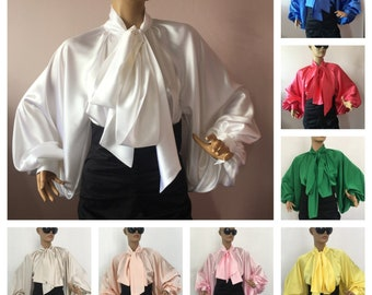 061b914d21a694 Formal Womens silk blouse/ Cocktail satin blouse, Satin Bow Blouse, Shirt, Womens  satin puffy sleeves blouse, Bishop sleeve blouse